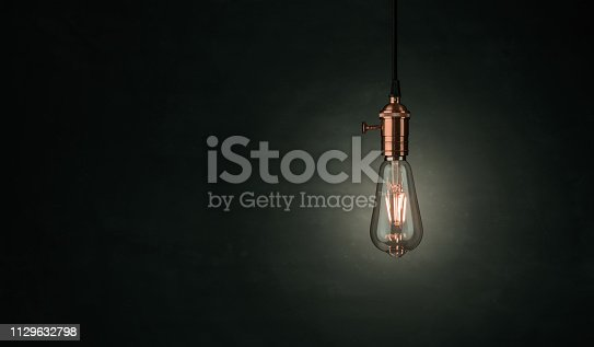 Close up of a vintage, Edison lightbulb over darklk background with copy space