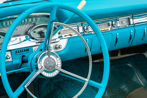 Miami, Florida USA - March 12, 2017: Close up view of the interior of a beautifully restored vintage 1959 Edsel Corvair CV automobile at a public car show.