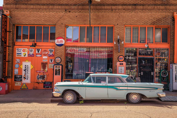 Vintage Edsel car at the Erie street in Lowell, now part of Bisbee, Arizona stock photo
