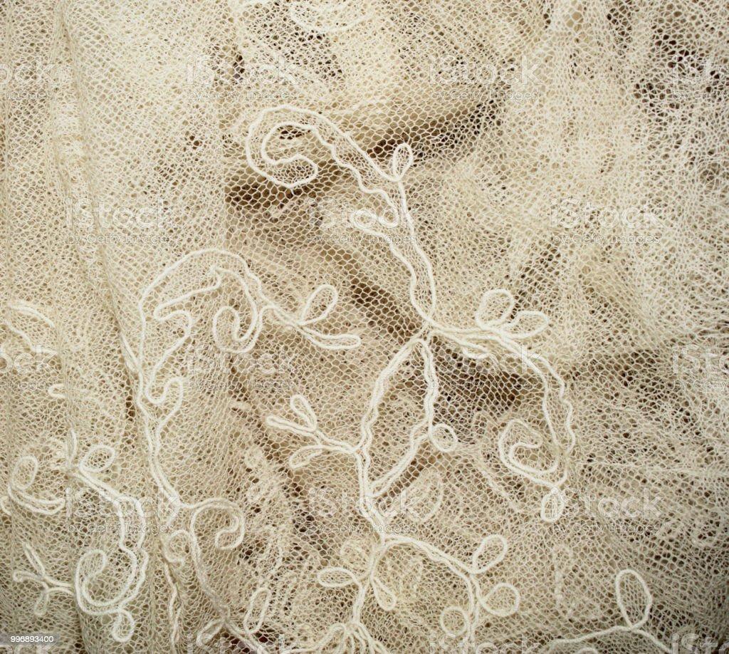 Vintage Edwardian and Victorian White Vintage Lace on Black Background stock photo