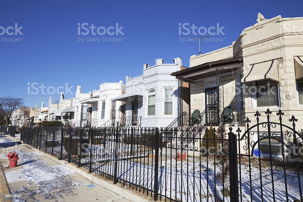 Vintage Edwardian Bungalows  in North Lawndale, Chicago royalty-free stock photo