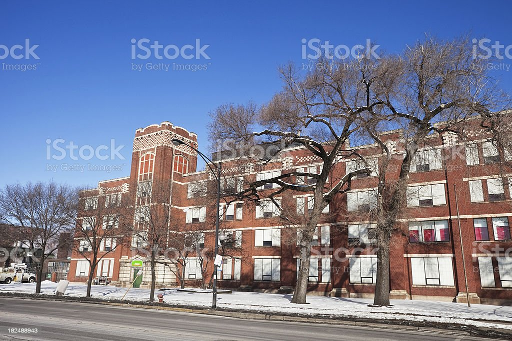 Vintage Edwardian Factory Building in Hermosa, Chicago royalty-free stock photo