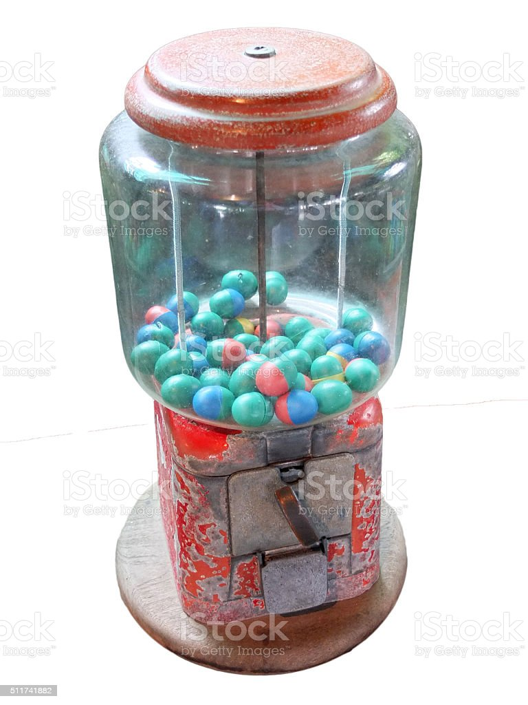 Vintage Eggs Slot Machine (Gumball Machine) isolated stock photo
