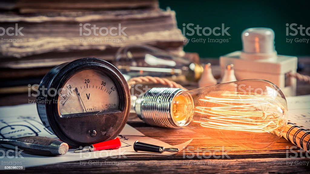 Vintage electrical lab at school stock photo