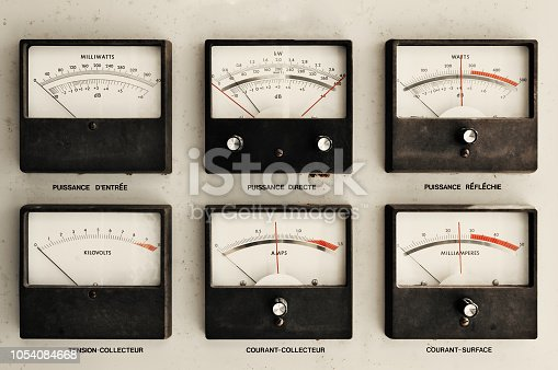 Vintage cabinet electrical meters.