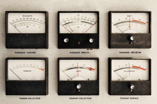 Vintage Electrical Meters (French) stock photo