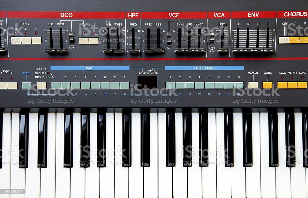 Vintage electronic synthesizer stock photo