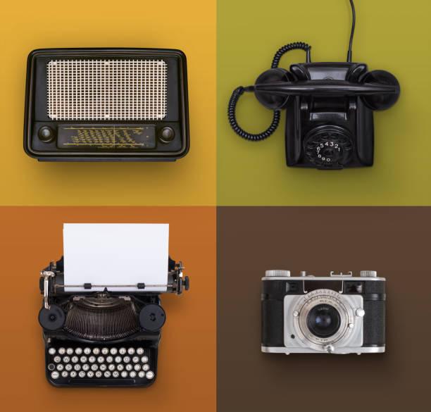 vintage elektronik satz - nostalgie telefon stock-fotos und bilder