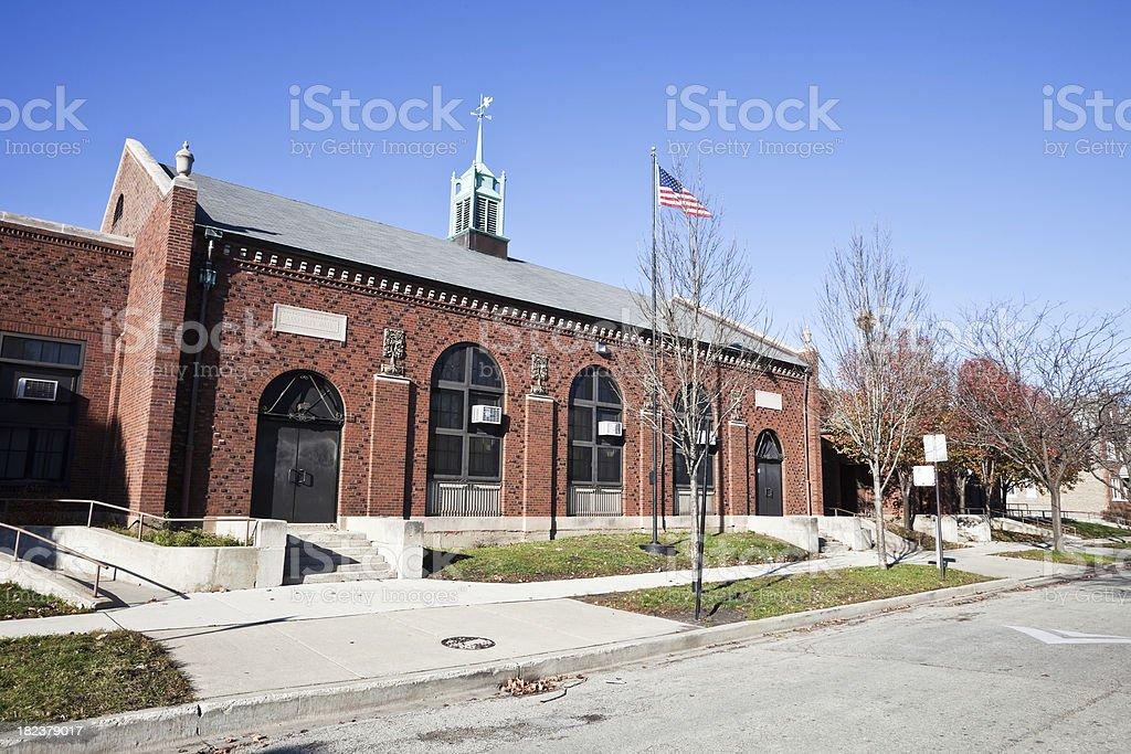 Vintage Elementary School Building, Chicago Southwest Side royalty-free stock photo