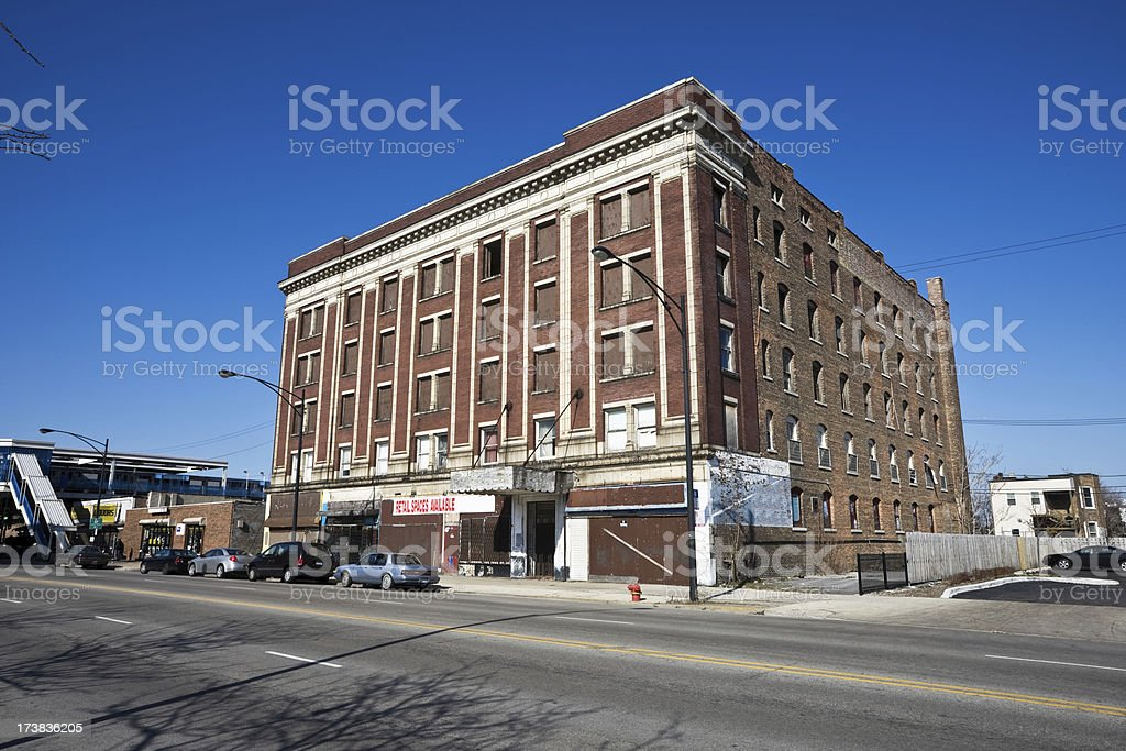 Vintage Empty Commercial Building Chicago royalty-free stock photo