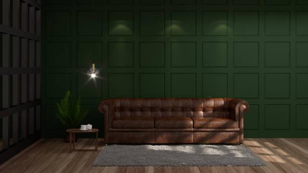 vintage leere grüne wand moderne mitte jahrhundert zimmer innen 3d rendering luxus modernen wohnzimmer ledersofa vor grün weiß wandleuchte und sideboard - ledersessel braun stock-fotos und bilder