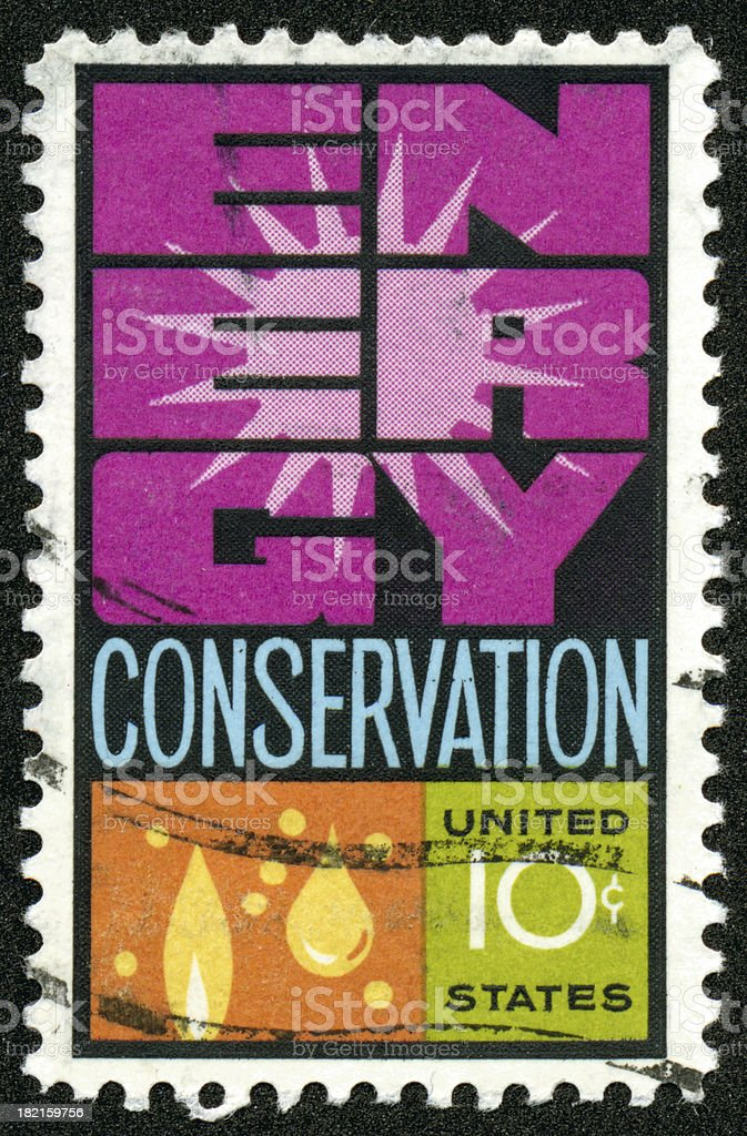 Vintage Energy Conservation postage stamp royalty-free stock photo