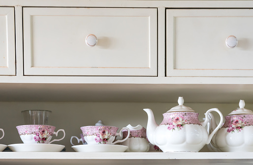 vintage English tea set with pink floral patter