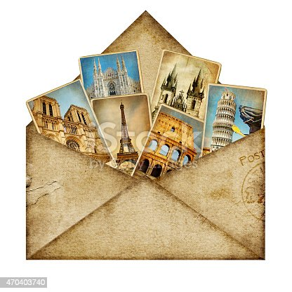 istock Vintage envelope with postcards inside 470403740