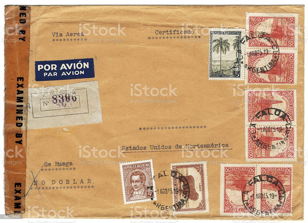 Vintage Envelope With Stamps XXL royalty-free stock photo