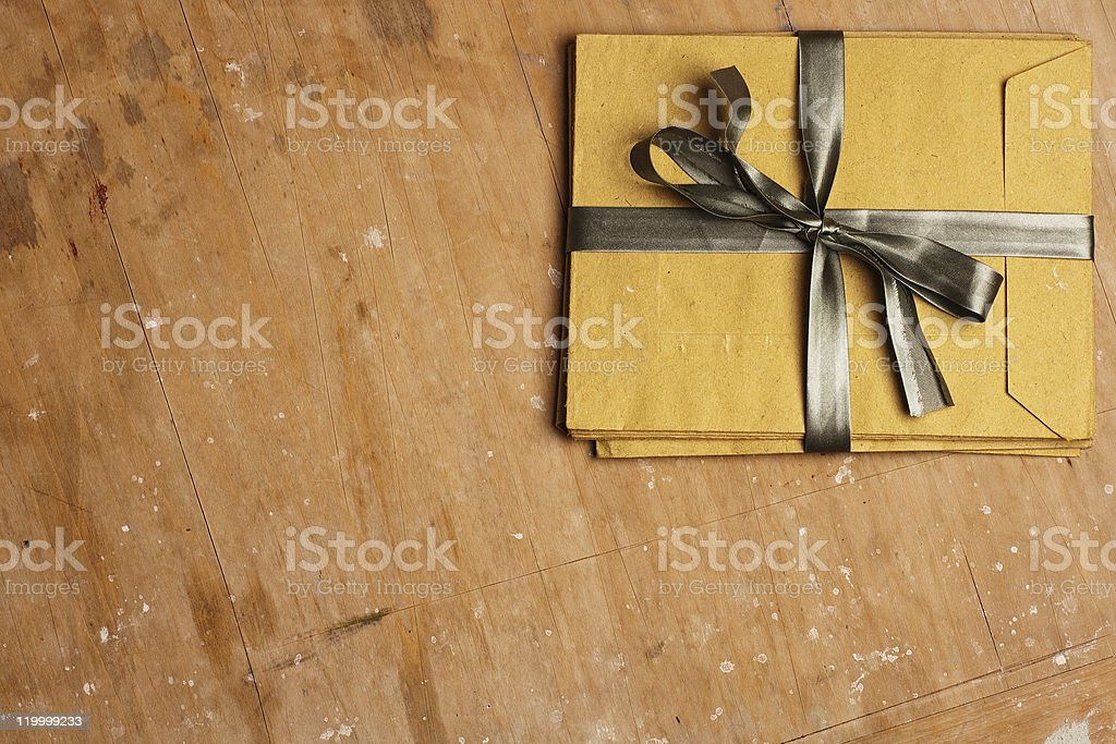 vintage envelopes with a bow royalty-free stock photo