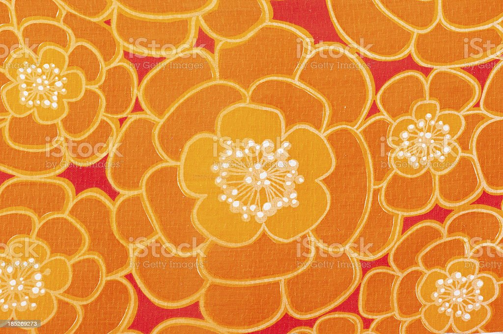 Vintage Fabric Background Power-Flower 1962-1972 stock photo