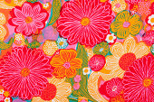 Vintage pink, yellow, orange, blue and green flowered fabric circa 1962 to 1972.