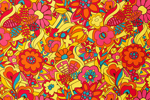 """Vintage Fabric Background SB51 1962-1972 """"Vintage pink, yellow, red, teal floral fabric circa 1962 to 1972."""" funky stock pictures, royalty-free photos & images"""