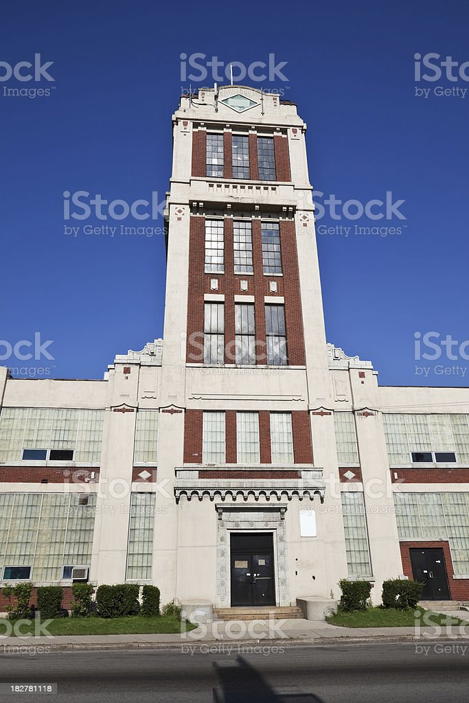 Vintage Factory Tower in Avondale, Chicago royalty-free stock photo