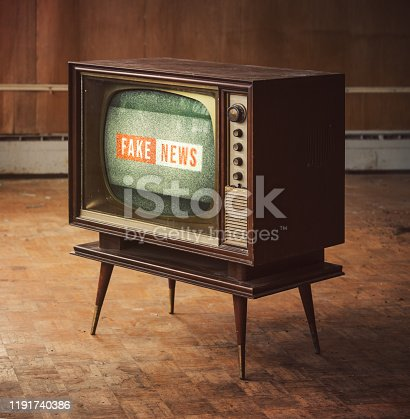 Vintage television with Fake News.