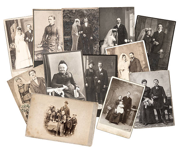 vintage family and wedding photos. original old pictures group of vintage family and wedding photos circa 1885-1900. nostalgic sentimental pictures collage on white background. original photos with scratches and film grain 19th century stock pictures, royalty-free photos & images