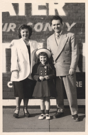 Mom, dad, and daughter. Family portrait circa 1946,  Brooklyn, New York.