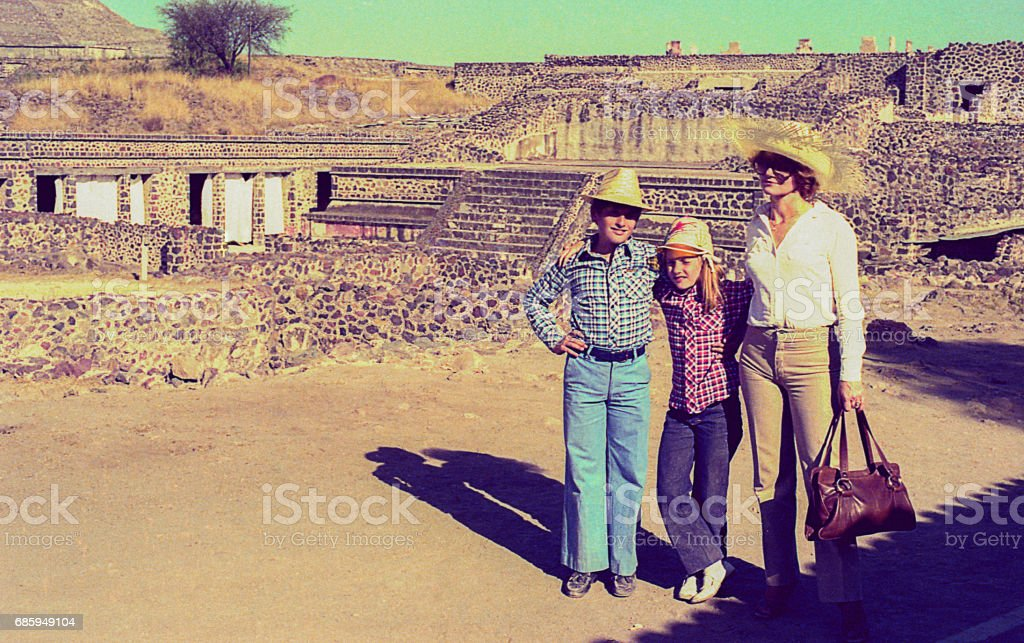 Vintage family trip to Mexico stock photo