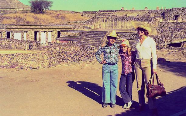 Vintage family trip to Mexico stock photo