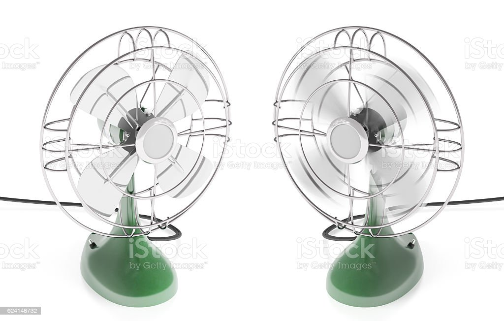 Vintage fan isolated stock photo