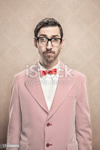 A retro styled image of a nerdy dorky man wearing a red and white suit and silk bow tie.  He has Horn-Rimmed glasses, mustache, and combed hair.