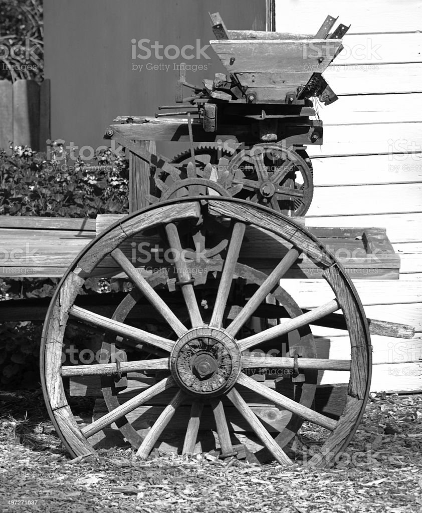 Antique Wheels And Gears : Vintage farm machinery wheels and gears in black white
