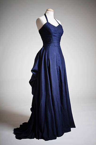 Vintage Fashion Vintage 40s blue, sleeveless evening gown with beading detail on the bodice. evening wear stock pictures, royalty-free photos & images