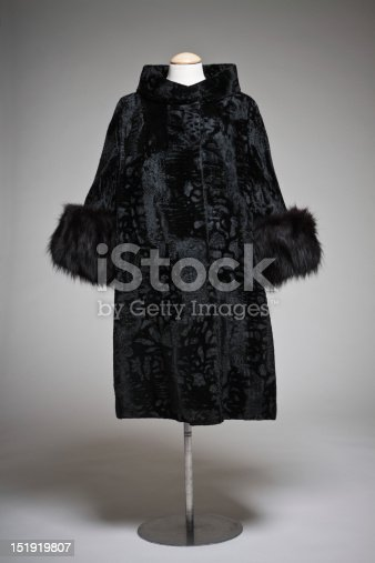 Vintage 60s black burnout velvet coat with fur cuffs.