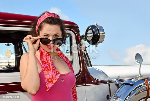 Beautiful Russian girl during vintage fashion and classic car show in Auckland, New Zealand
