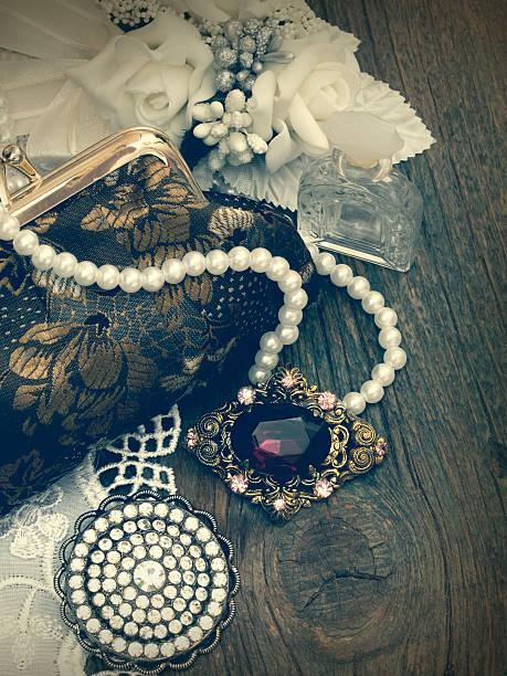 vintage female accessories stock photo