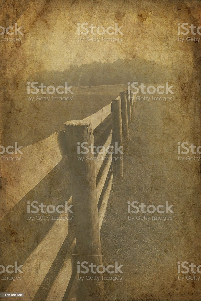 Vintage Fence and Field royalty-free stock photo