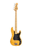 Los Angeles, California, USA - June 19, 2014:  Illustrative editorial photo of vintage Fender Precision electric bass guitar on white background.