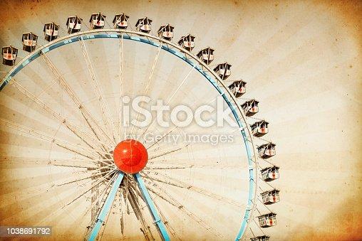 Vintage ferris wheel background at the Oktoberfest in Munich