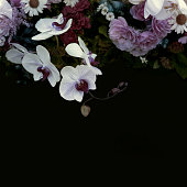istock Vintage festive flower composition on black background, copy space. Rose, peony, orchid, delphinium, chamomile. Birthday, Mother's, Wedding Day concept 1270825560