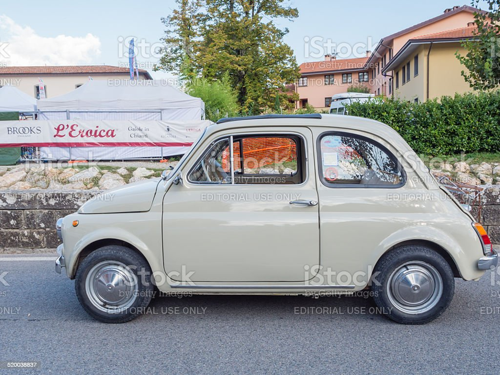 Vintage Fiat 500 car at  L'Eroica, Italy stock photo