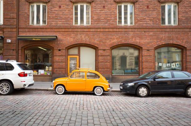 Vintage Fiat 500 in Helsinki City Centre stock photo