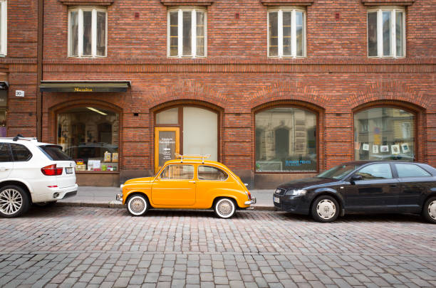 Vintage Fiat 500 in Helsinki City Centre stock photo