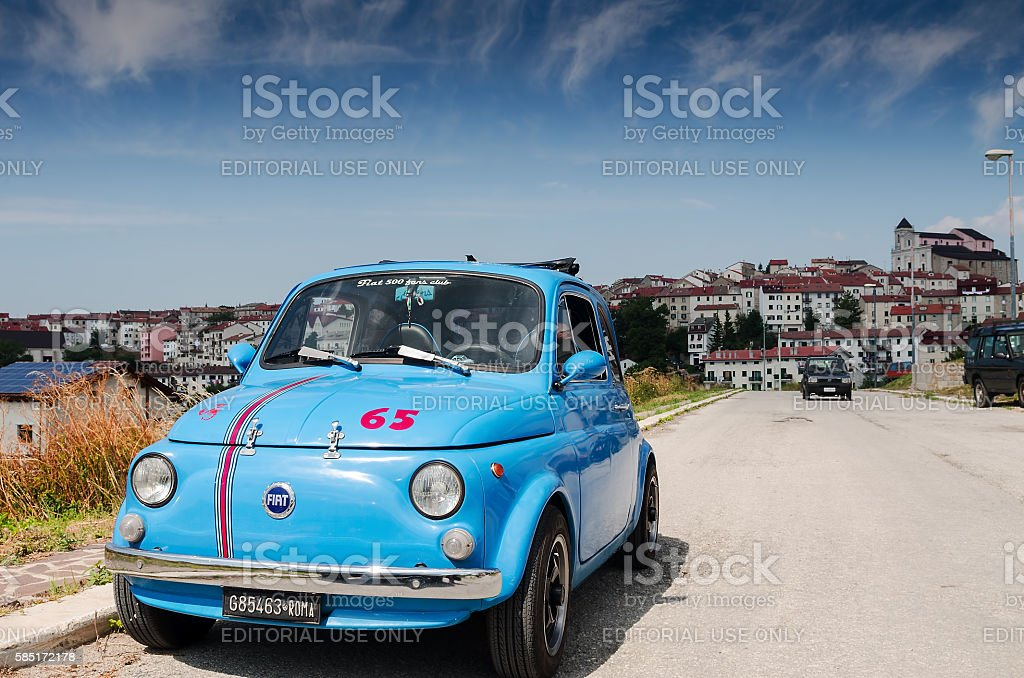 vintage fiat italian car parked in a mountain village stock photo