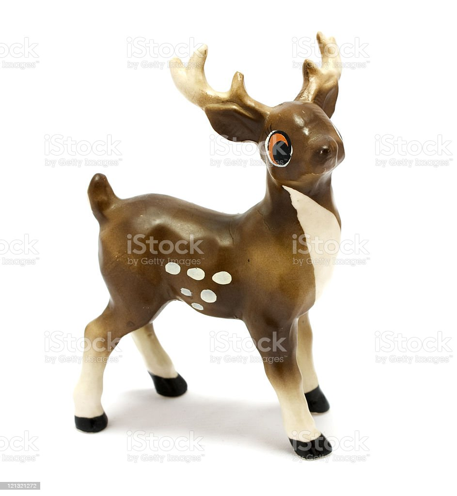 Vintage figurine of fallow deer stock photo