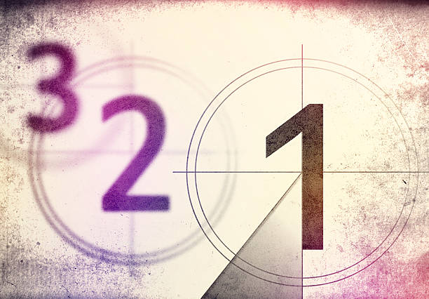 vintage film countdown 3 2 1 - countdown stock photos and pictures