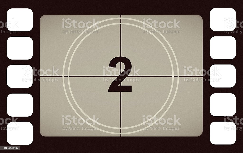 Vintage Film Leader Count Number 2 Two royalty-free stock photo