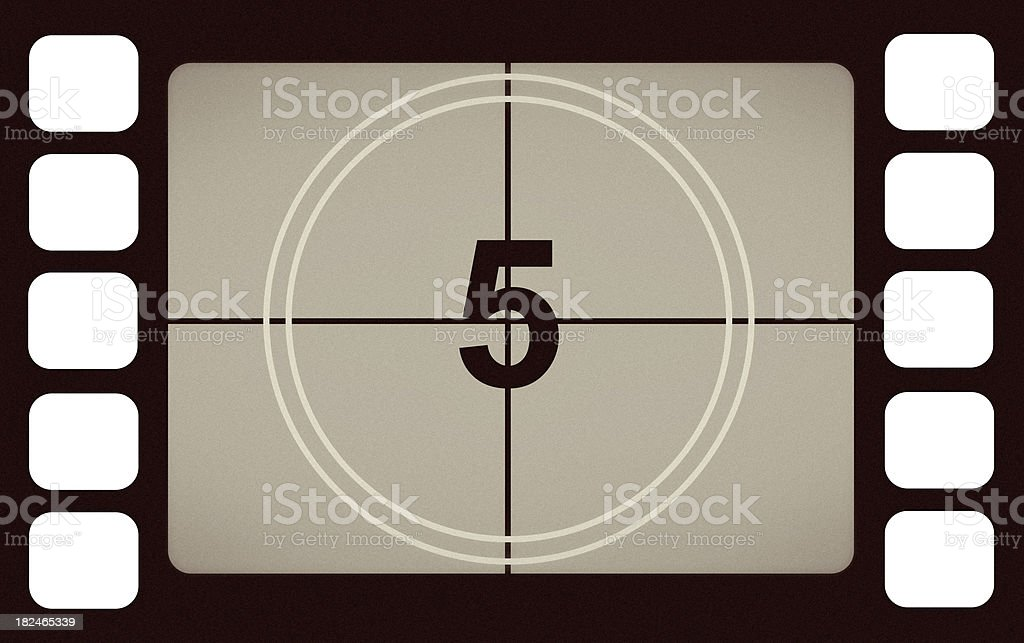 Vintage Film Leader Count Number 5 Five royalty-free stock photo