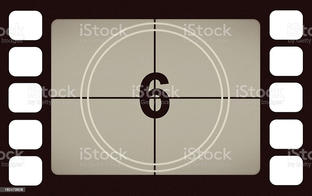 Vintage Film Leader Count Number 6 Six royalty-free stock photo