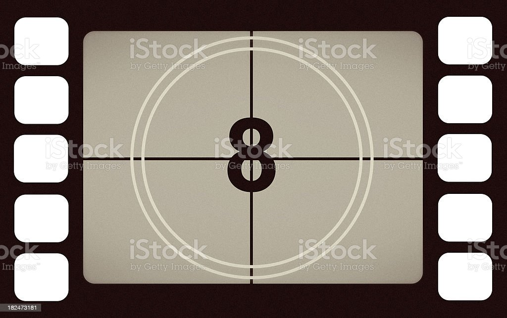 Vintage Film Leader Count Number 8 Eight royalty-free stock photo